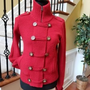 Anerican Eagle Red Toggle Sweater